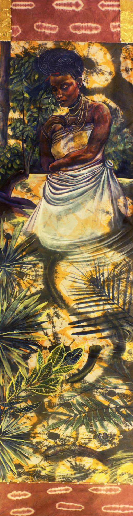 """Osun Olomoyoyo"" Acrylic, Beads And Cowrie Shells on Guinea Brocade 45"" x 214"""