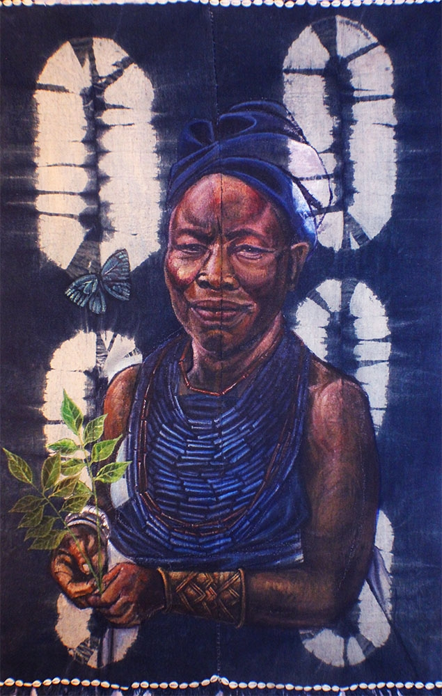"""Iya Alaro"" Acrylic And Cowrie Shells on Handwoven Cotton Cloth approx 44""x 66"""