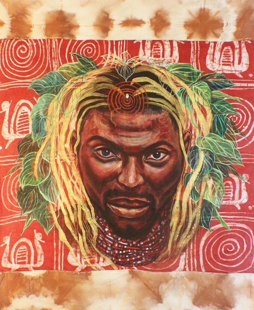 """Orisa Dada"" Acrylic on Guinea Brocade 48"" x 60"""