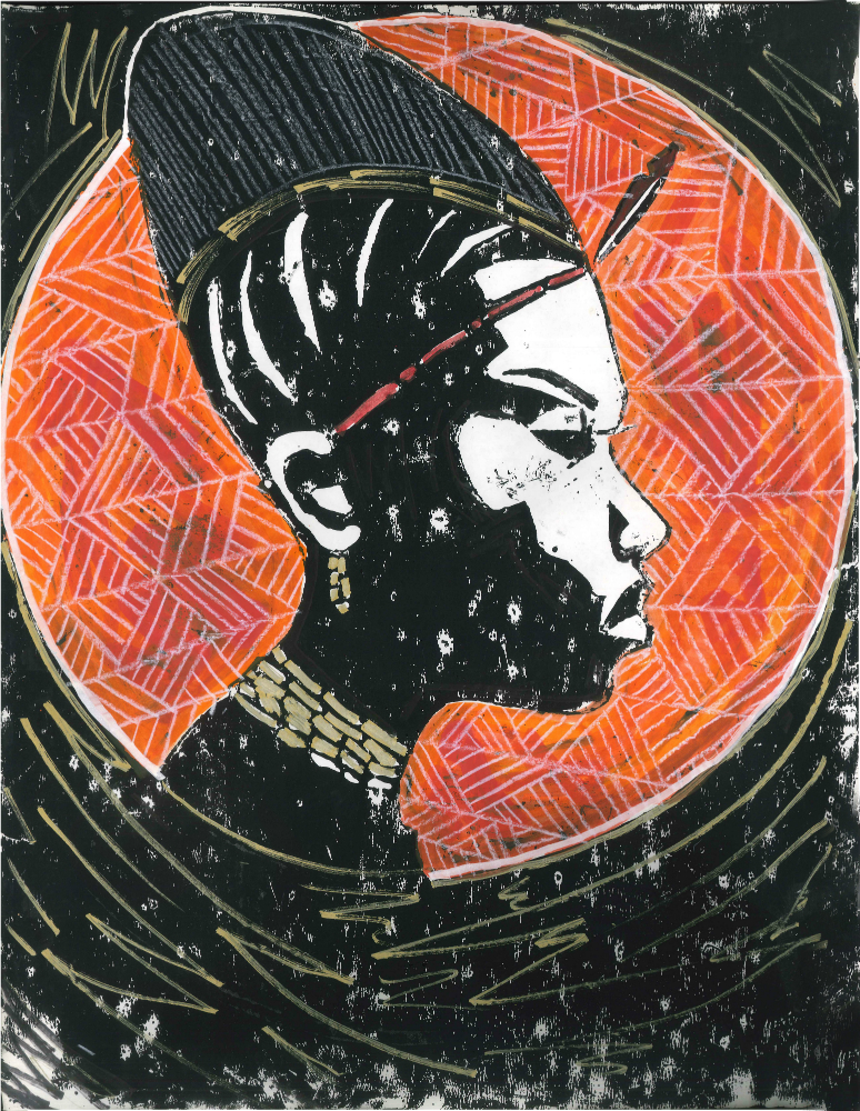 """Iyalorisha, an ode to Olowe of Ise"" Edition 6 of 6, Linocut and mixed media on paper. 18″x 24"