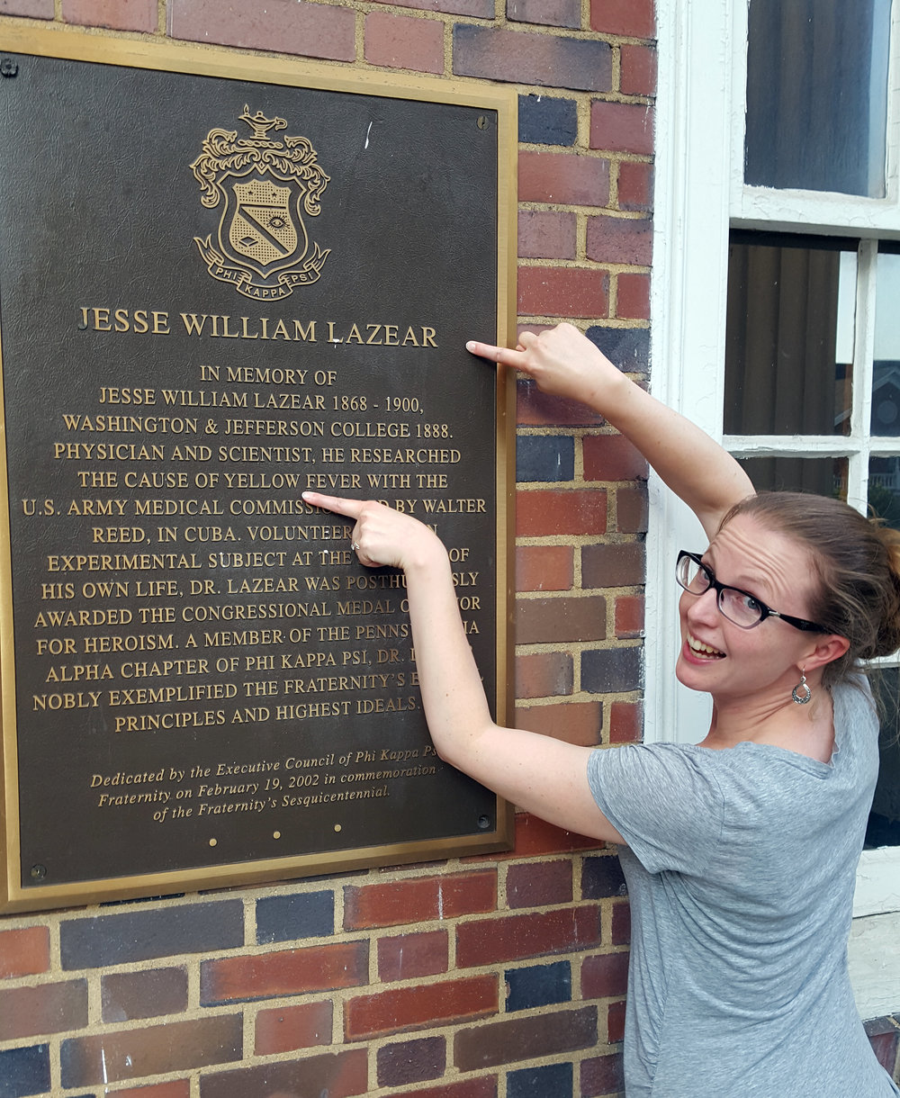 plaque at lazear cehmistry hall, washington & jefferson university, memorializing jesse lazear, who died demonstrating that yellow fever virus is transmitted by mosquitoes