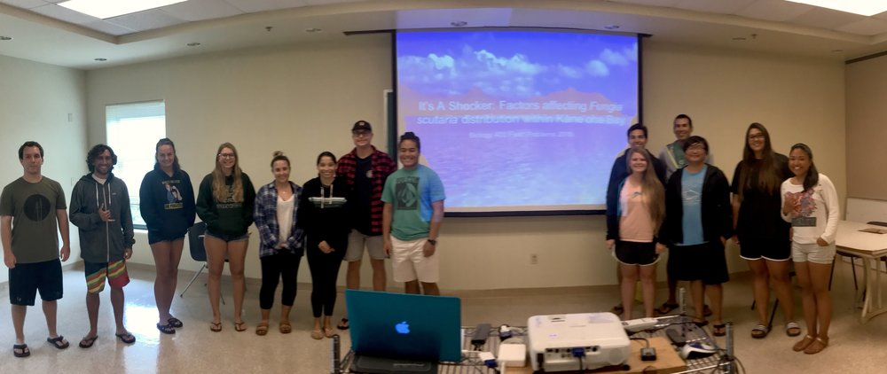 The BIOL 403 class (Field Problems in Marine Biology Presented their work to the Hawai'i Institute of Marine Biology community!