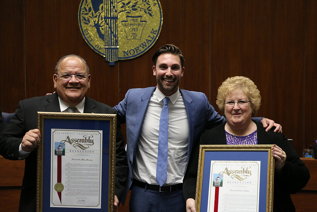California Assemblyman Ian Calderon flew down from Sacramento on Tuesday evening to present outgoing Mayor Mike Mendez and Vice Mayor Cheri Kelley with resolutions honoring their decades of service in Norwalk.  Photo | city of Norwalk
