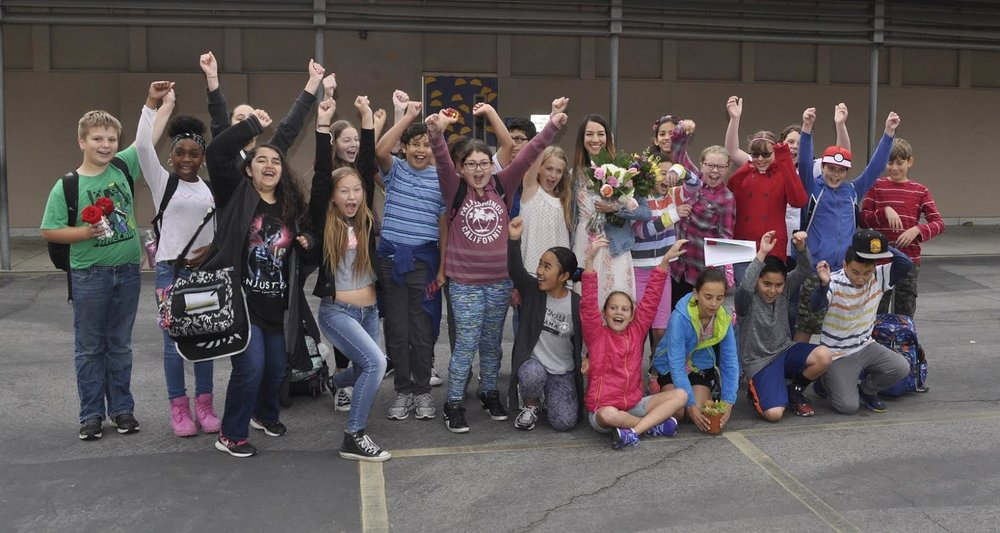 Las Flores Home Independent Study Academy teacher Leah Moak's sixth-grade students cheer her selection as Bellflower's 2017 Teacher of the Year.