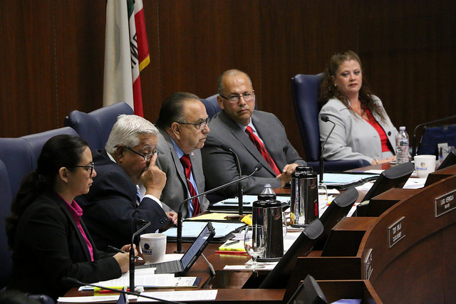 Vice Mayor Leonard Shryock (second from the right) proposed the council pass a short-term resolution to prevent a city shutdown.  Photos | city of Norwalk