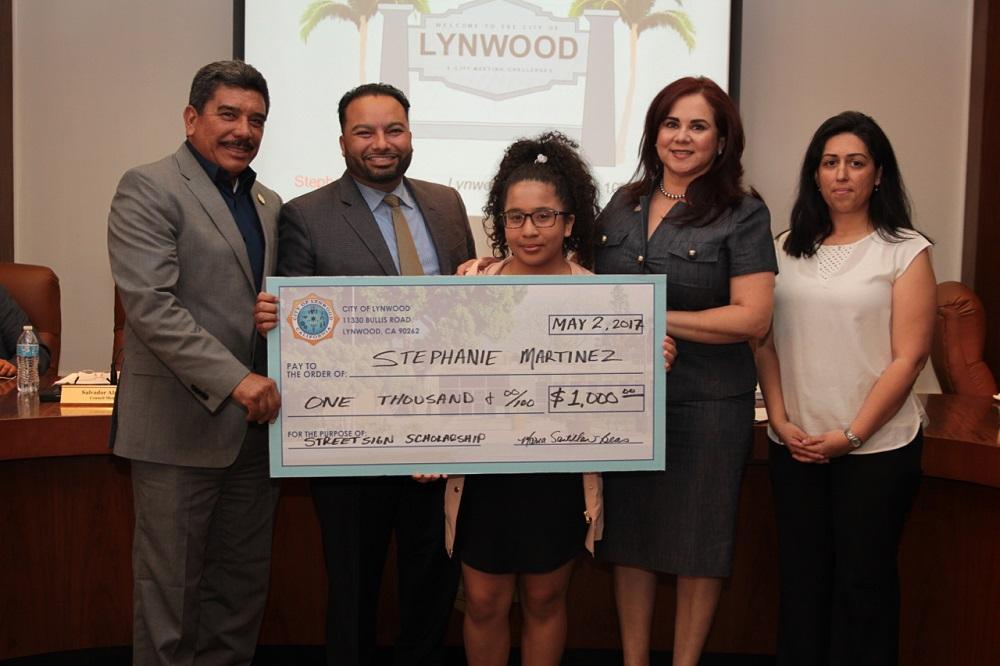"Sophomore Stephanie Martinez submitted a computer-generated design for the city art contest that tasked Lynwood Unified students with creating a ""Welcome to Lynwood"" sign."