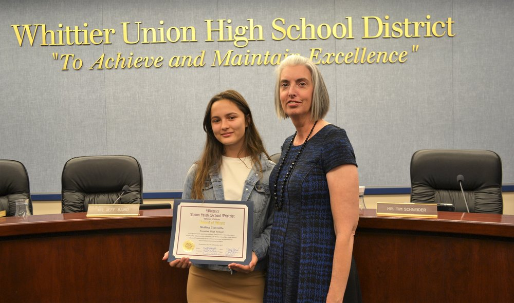 Frontier High School's Meiling Clavesilla, pictured with Principal Margie Moriarty, was recognized with an Award of Merit by the Whittier Union Board of Trustees on Nov. 14.