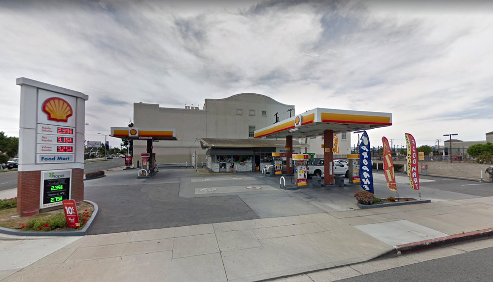 A Shell gas station at Firestone Boulevard and San Antonio Drive. Google photo.