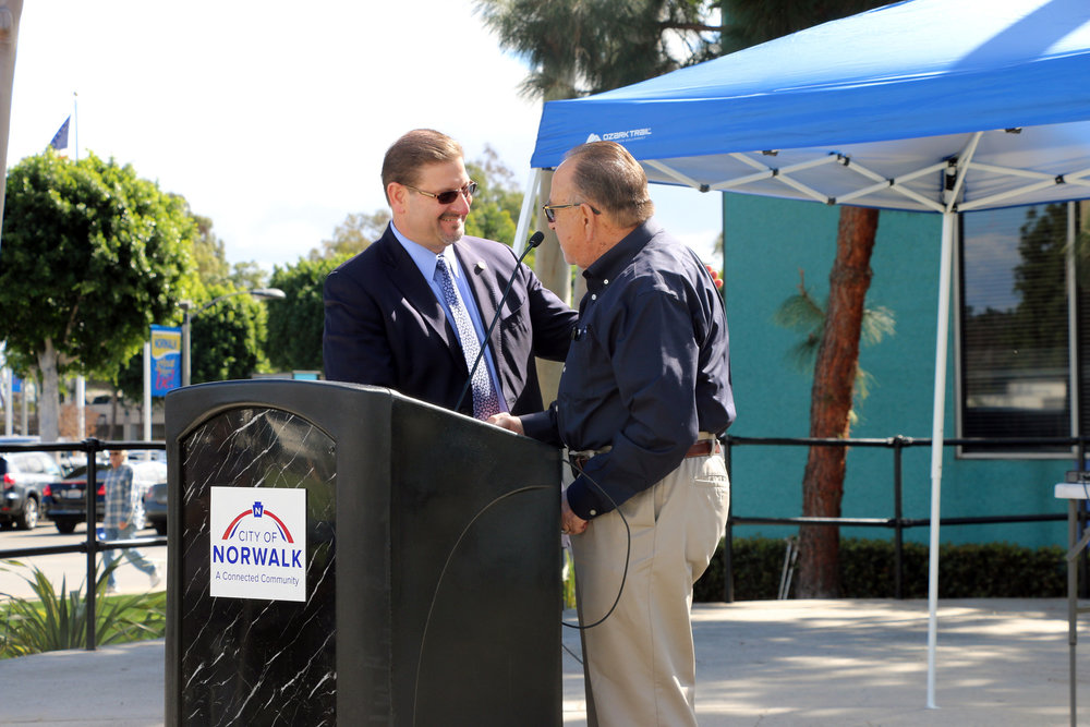 City Manager Jesus Gomez and Mayor Luigi Vernola. Photo courtesy city of Norwalk