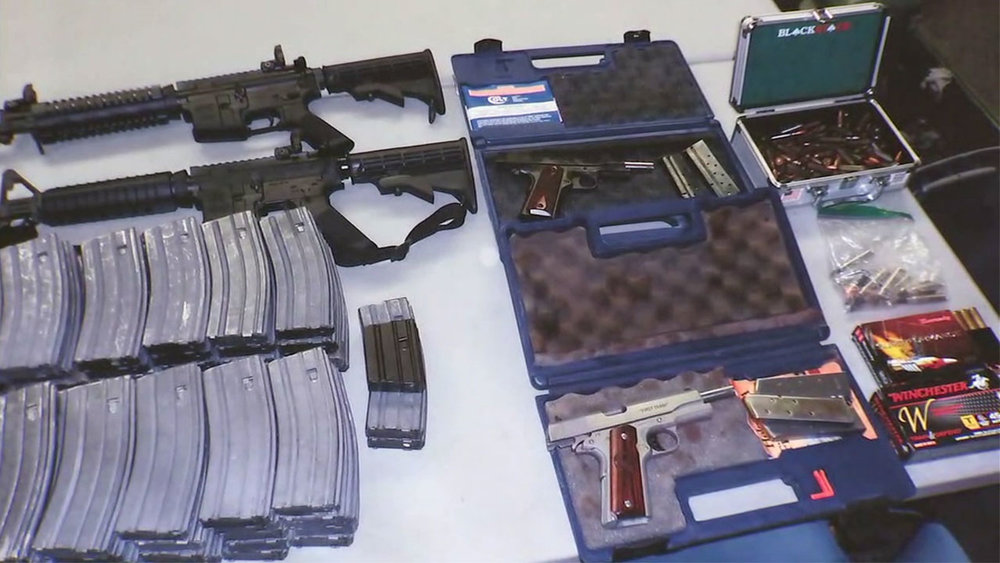 A cache of weapons found at a Norwalk home last week. A 16-year-old boy residing at the home was detained for making threats against a South Whittier high school. ABC-7 photo