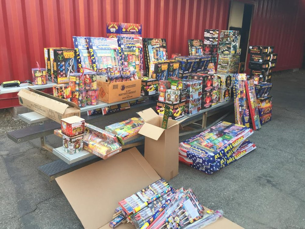 Photo from an illegal fireworks stash found in Downey last year.