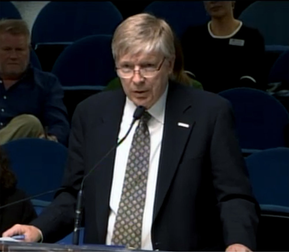 Dean A. Ruffridge of CR&R addresses the council. Screen grab of online footage of Friday's meeting.