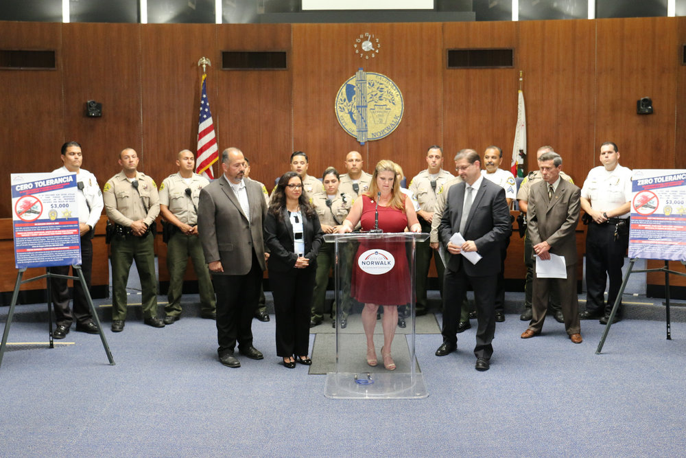 Norwalk officials held a press conference last week warning against the use of illicit fireworks. City of Norwalk photo