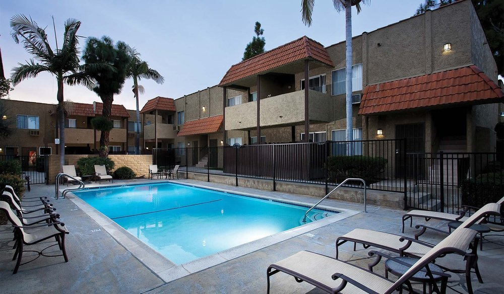 The swimming pool at the Villa del Sol apartments in Norwalk.
