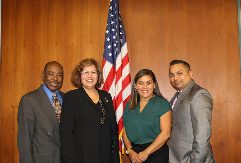 Darryl Adams, Ana Valencia, and Jude Cazares, pictured far left, middle left, and far right, were all successfully reelected. Norma Amezcua, pictured middle right, lost her seat. Photo Courtesy Norma Amezcua Facebook.