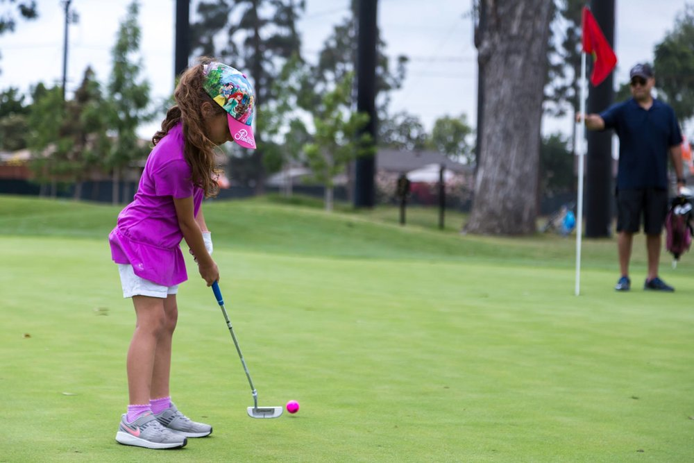 A girl putts at the Don Knabe Golf Center in Norwalk. Facebook photo