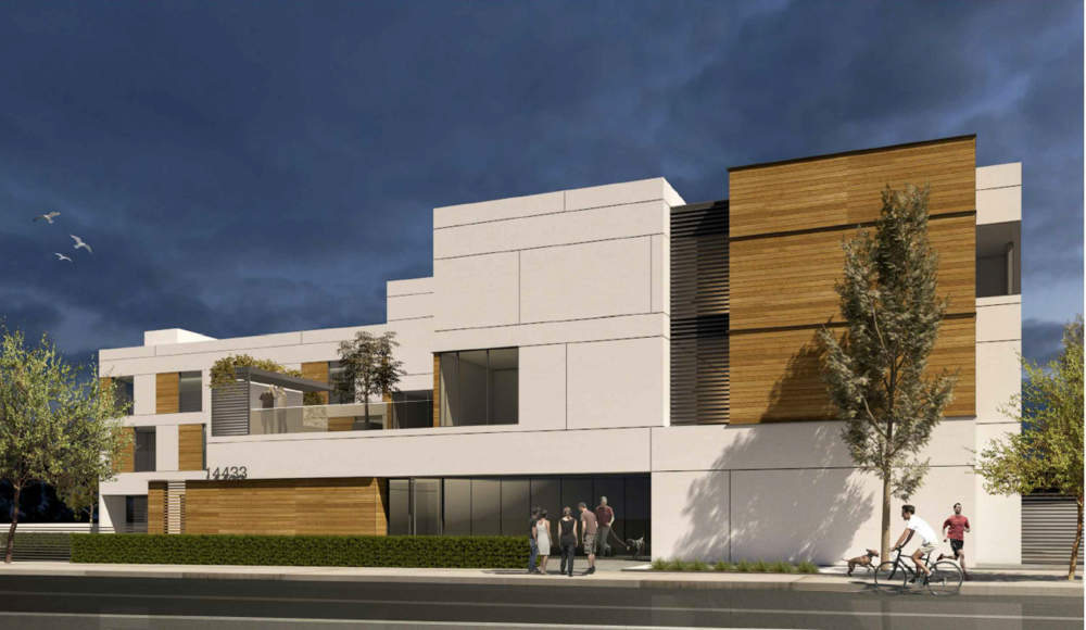 A rendering of a proposed 27-unit housing development at the site of the former South Whittier Library.