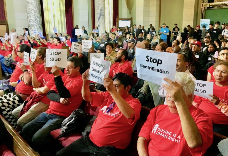 Protesters at the April 16 L.A. City Council meeting. Photo courtesy Housing is a Human Right