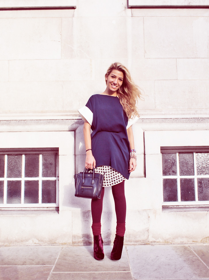 Leila wearing Marina London silks navy mar top