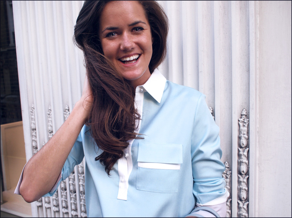 Rose wearing Marina London - George shirt in pastel blue
