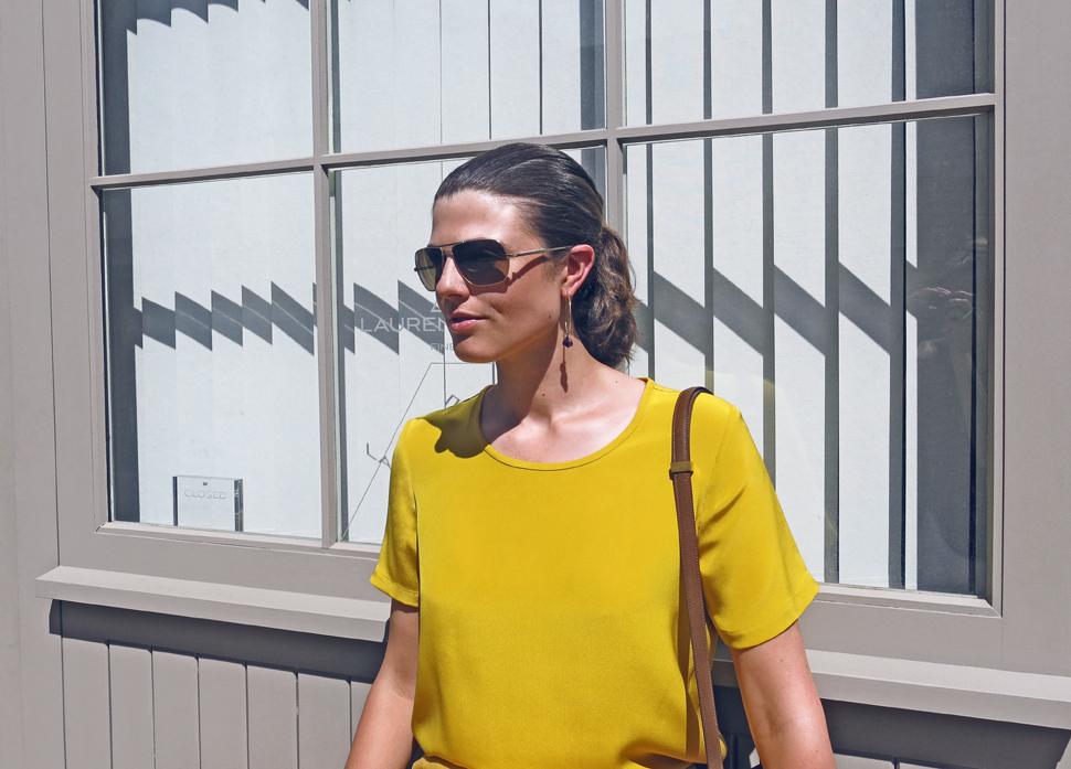 Lauren wearing Marina London caro tee