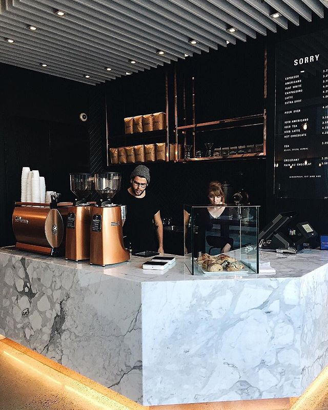 An amazing cafe fitout design in Toronto! Love the marble and copper accents! The contrast between the colours are very aesthetically pleasing! 👌🏼✨ Image from Pinterest.
