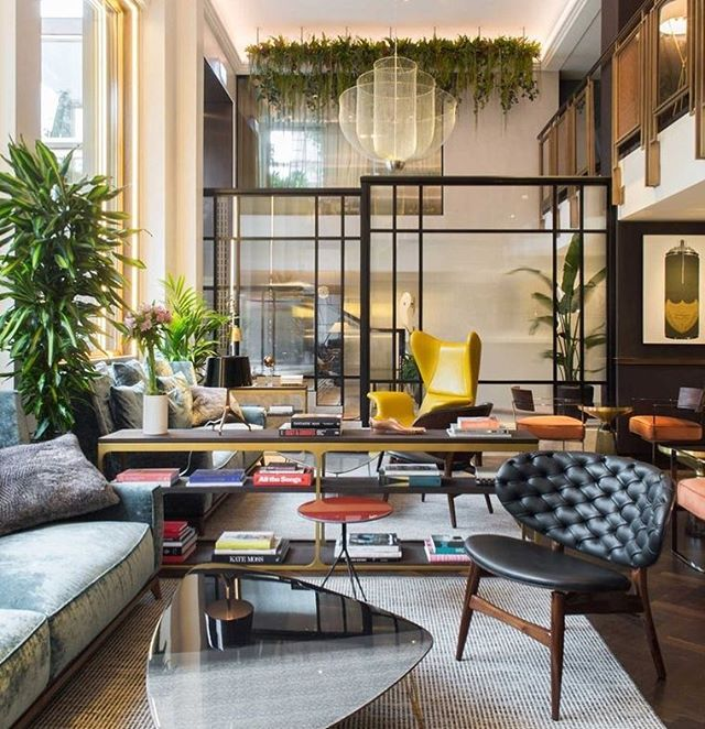 Loving the pop of colours in this hotel lobby design! ✨ I especially enjoy the incorporation of greenery. Plants also provides many benefits such as:⠀ ⠀ -Purifying the air⠀ -Reduce noise in a room⠀ -Creative decor such as the one in hanging from the ceiling.  Image from Pinterest