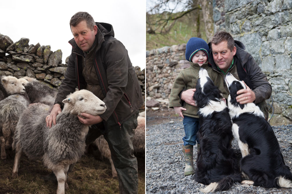James Rebanks, author, with son Isaac and dogs Meg and Tan. Delicious. Magazine