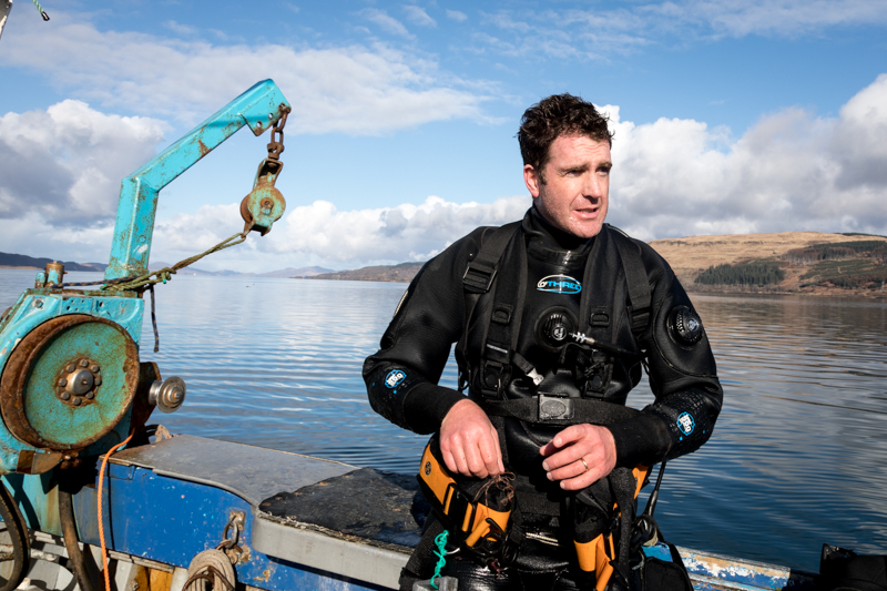 Guy Grieve hand dives for scallops of the island of Mull