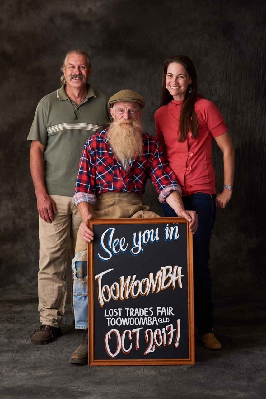 Pictured: George Smithwick (6th Generation Cooper) with Andy & Wendy from Cobb+Co Toowoomba - Looking all very excited! - *Photo credit Lost Trades Fair
