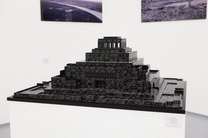 Yuri Avvakumov. 'Black bone mausoleum. Homage to architect A. Schusev.' 2008. The symbol of the totalitarian Soviet empire was built from 3500 dominoes. (Image courtesy of The Art Partners)