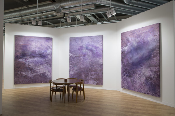 Installation view of works by Julian Schnabel at Pace Gallery's booth at Art Basel