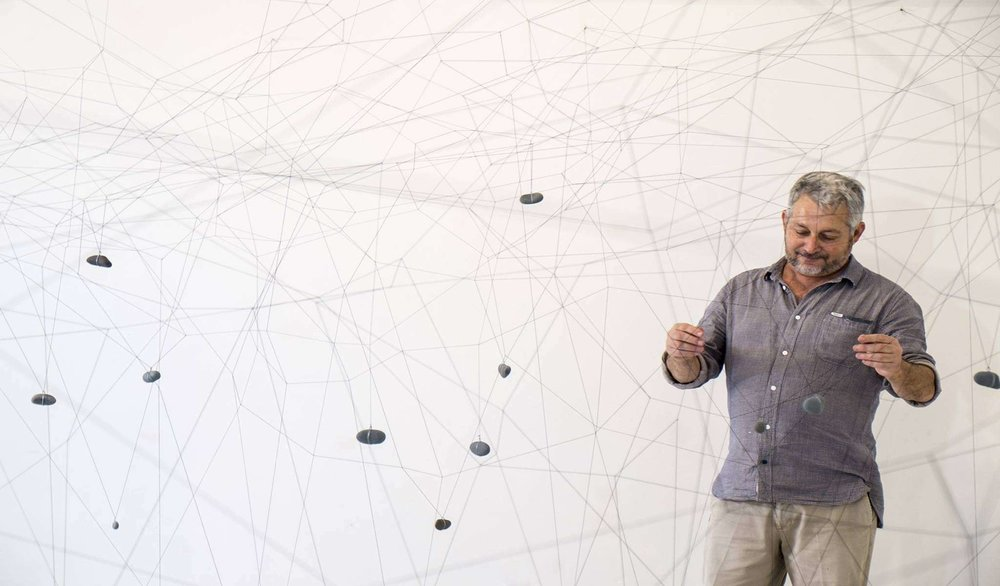 Gustavo Pérez Monzón with his installation Vilos, 1981/2015  Photo: Pericles Lavat, courtesy of CIFO Cisneros Fontanals Art Foundation