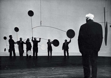 Calder during rehearsals for Work in Progress, Teatro dell'Opera, Rome, 1968    Photograph by John G. Ross