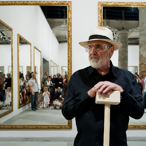 Michelangelo Pistoletto at his solo show at VNH Gallery, Paris.Image courtesy of the artist and the gallery. Photography by Philippe Servent
