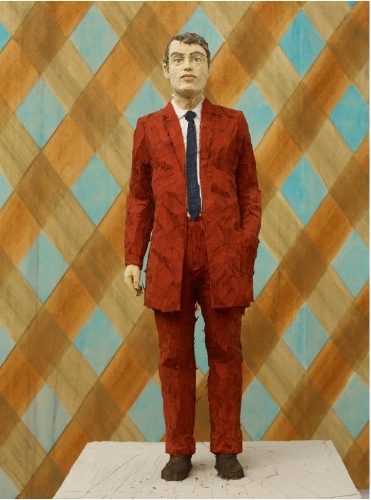 Stephan Balkenhol, , Man in Reddish Brown Suit, with Plaid Relief (Detail), 2011   © Stephan Balkenhol