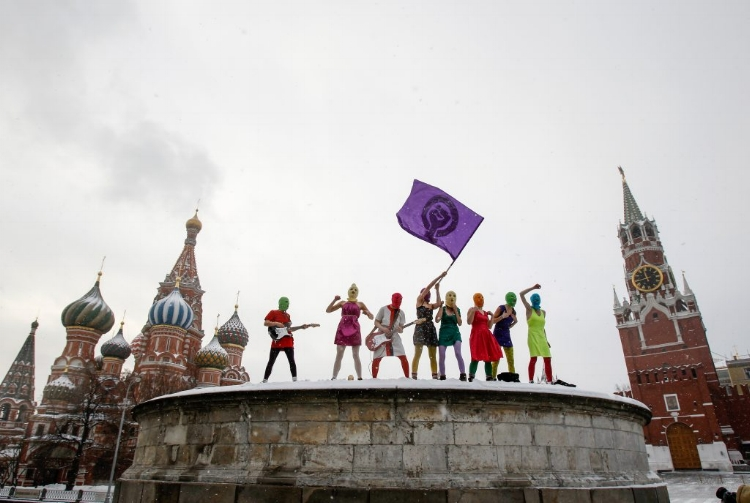 Punk-rocking radical feminists Pussy Riot who gathered in Moscow's Red Square during a protest in January 2012. (Photo by Denis Sinyakov/Reuters)