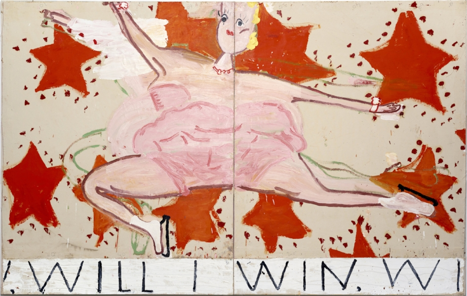 Rose Wylie, Pink Skater, (Will I Win, Will I Win), 2015 © Rose Wylie, Courtesy the artist and David Zwirner, London