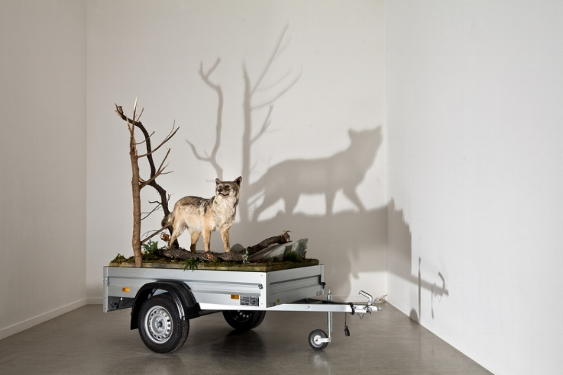 MARK DION Mobile Wilderness Unit - Wolf 2006 mixed media trailer: courtesy: the artist & Georg Kargl Fine Arts, Vienna