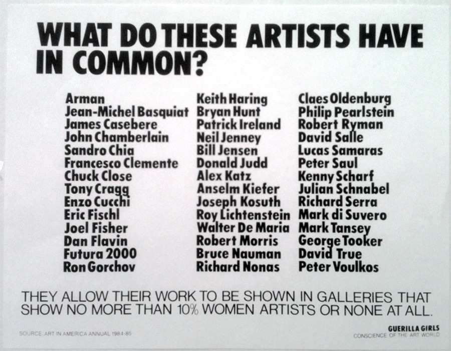 Guerrilla Girls , What Do These Artists Have In Common? 1985  © courtesy www.guerrillagirls.com