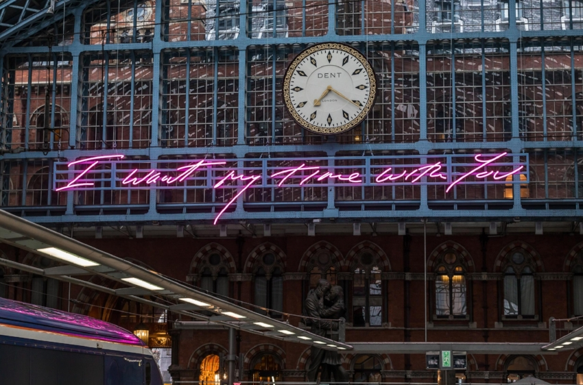 Installation view of Tracey Emin's 'I Want My Time With You' at St Pancras Station