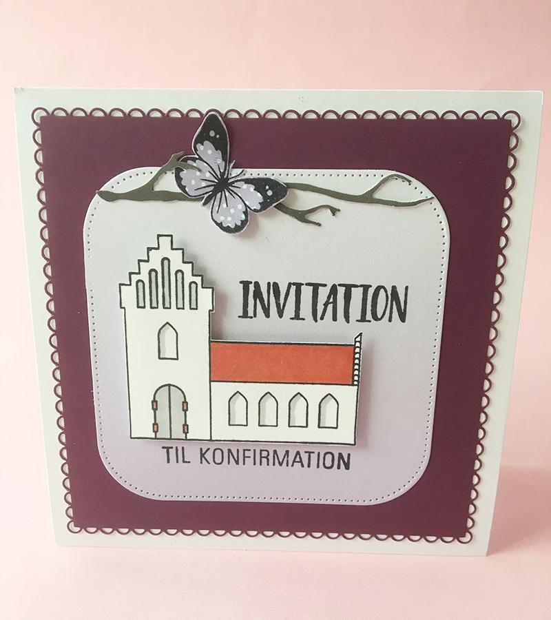- Mørk lilla ensfarvet   - Lys lilla gradientpapir   - Stempel sommerfugl   - Stempel kirke   - Tekststempel: Invitation til konfirmation   - Firkantet die med blonde   - Firkantet die med afrundede hjørner   - Die med gren   - Hvid kortbase (13,5x13,5)