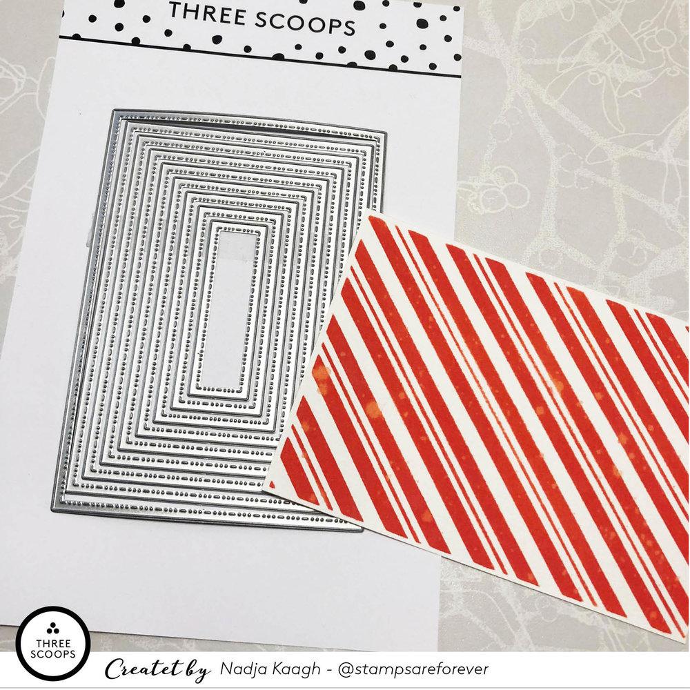 STEP 5:  Jeg skærer min baggrund med de nye regtangel-dies fra Three Scoops. De er super skønne og giver en smuk kant på papiret.