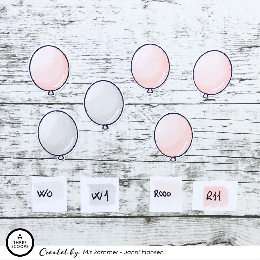 STEP 9:  Jeg har også leget lidt med de samme farver på ballonerne fra samme stempelsæt