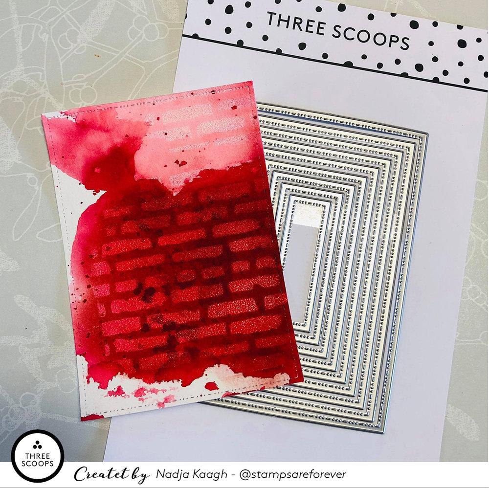 STEP 7:  Jeg die-cutter den del af min baggrund jeg ønsker at bruge. Her med den største af de nye  rektangel-dies .
