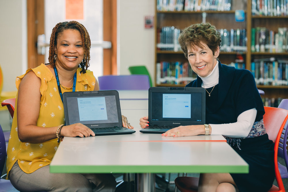 LMS Principal Dr. Tiffany Taylor-Johnson and School Counselor Janey Worthington with laptops purchased by the LEF.    Photo credit: Brook Palanca