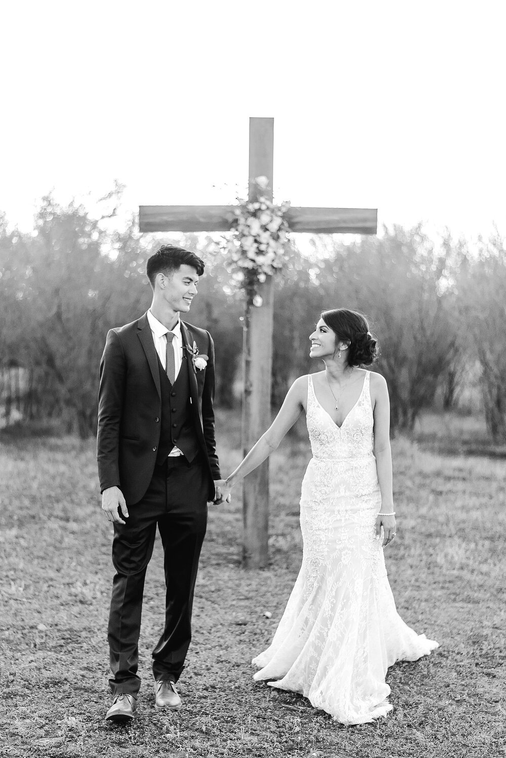 Christian wedding photo with cross