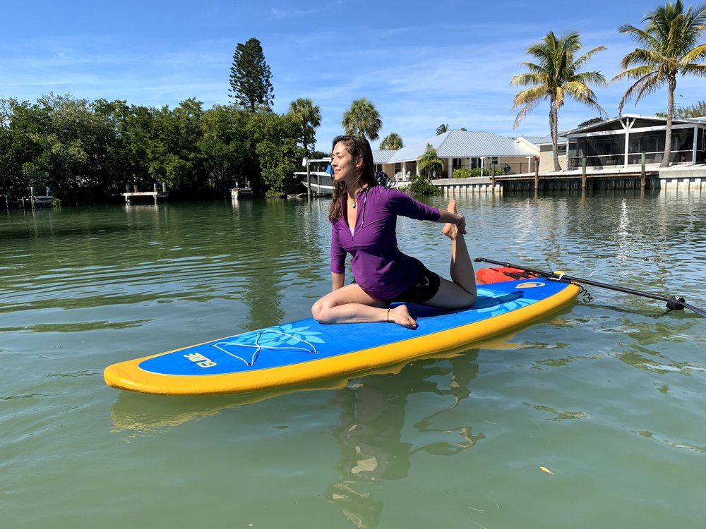 Crystal is a yoga and paddleboard instructor on anna maria island