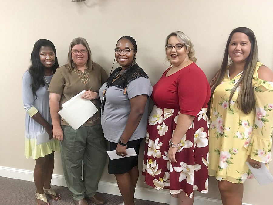 Jonnetta Brown, Carmen McQueen, Danaysia Powell, Amber Meares and Olivia Scott are teachers of the year for Whiteville City Schools.JPG