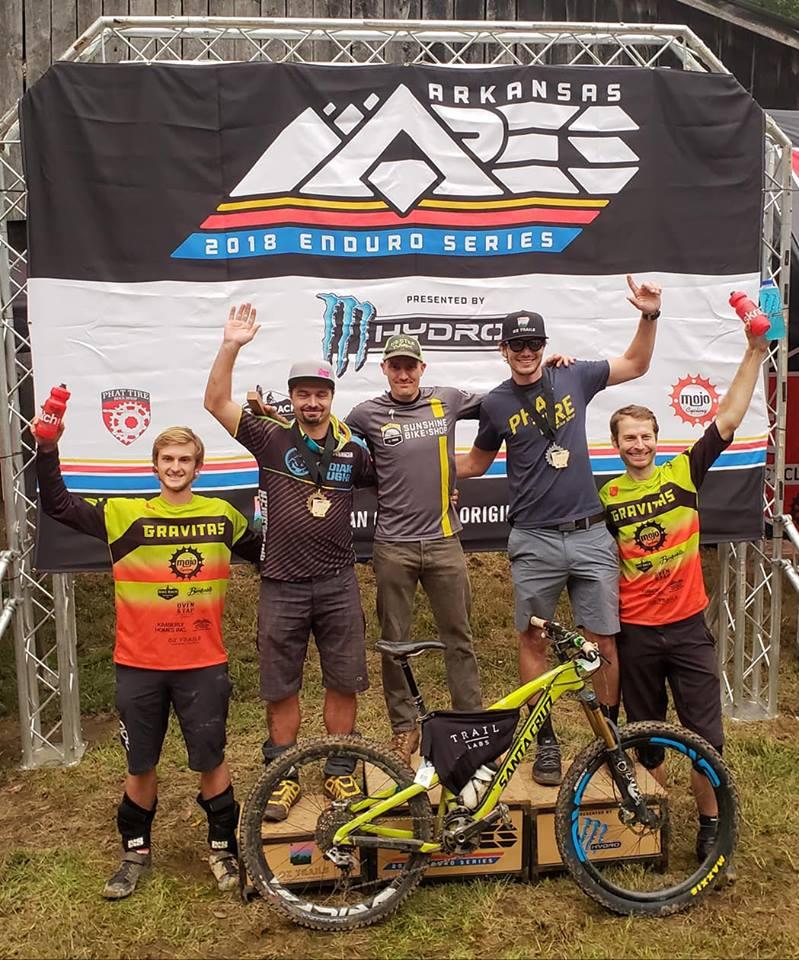Shawn Collins (center) 2018 Arkansas Enduro Series champion.